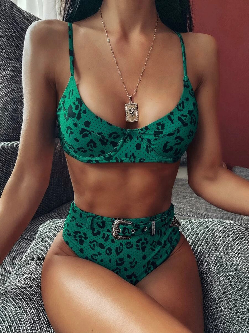 Leopard Underwire Top With Belted High Waist Bikini Set
