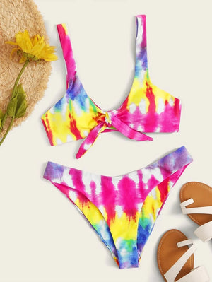 Tie Dye Knot Front Top With High Cut Bikini Set