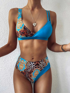 Contrast Animal Printed Top With High Waist High Cut Bikini Set