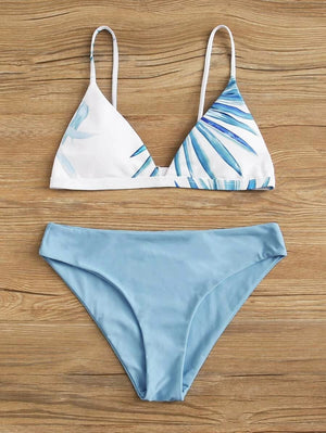 Tropical Leaves Printed Triangle Top With Low Waist Bikini Set