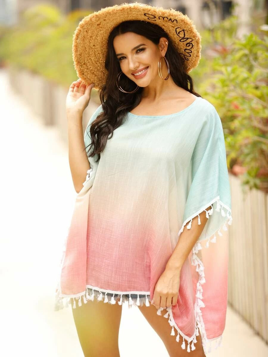 Ombre Batwing Sleeve Tassel Trim Mini Dress