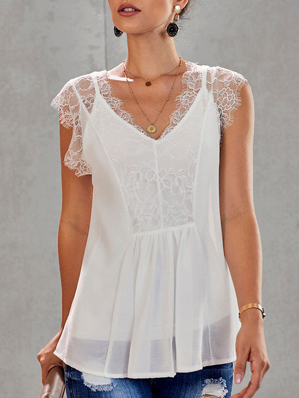 Lace Sexy V Neck Patchwork Frill Top