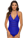 Plain Mesh V Neck Tankini Set