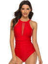 Mesh Tie Waist Backless One Piece Swimwear