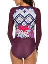 Long Sleeves Flower Printed Zipper Front One Piece Swimwear