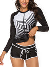 Long Sleeve Zipper Front Top With Panty Tankini Set
