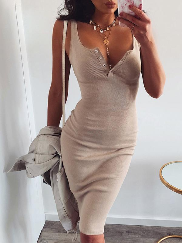 Slim Casual Plain U Neck Halter Button Knee-Length Dress