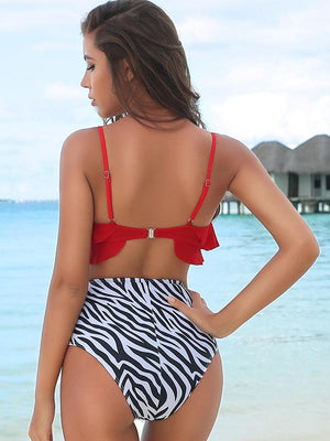 Ruffle Hem Top With Zebra Pattern High Waist Bikini Sets
