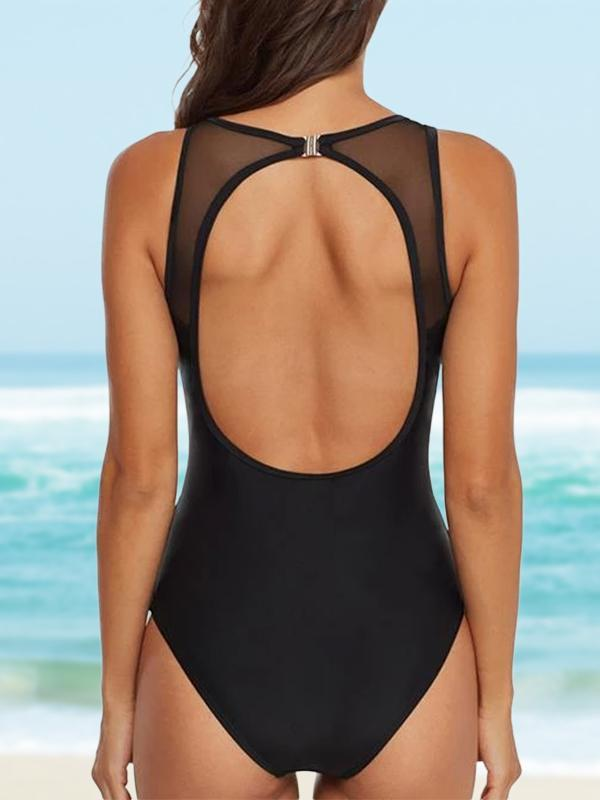 (US Stock & Local Delivery) Contrast Mesh One Piece Swimwear