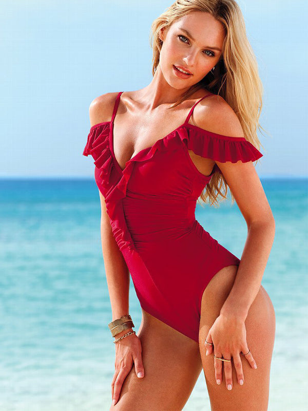 Ruffles Ruched Cold Shoulder One Piece Swimwear