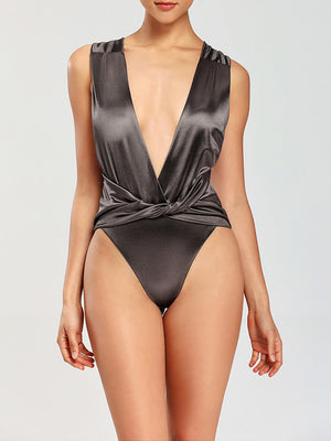 Plain Ruched Twist High Cut One Piece Swimwear