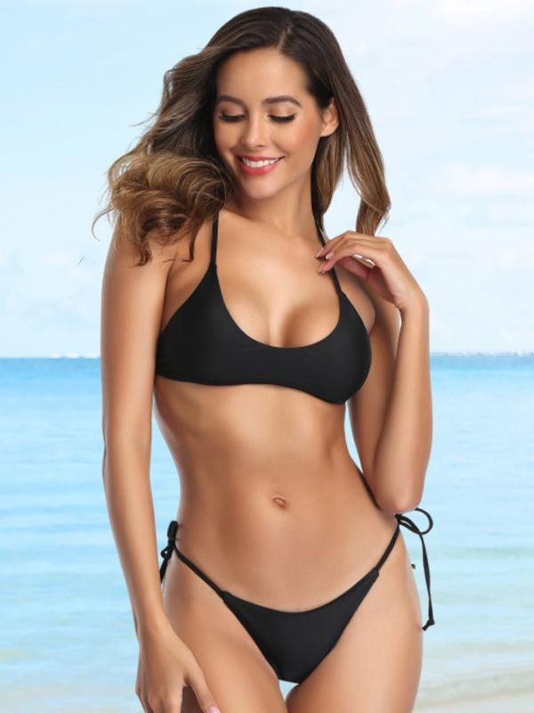 Plunging Top With Tie Side Tanga Bikini Set Swimwear