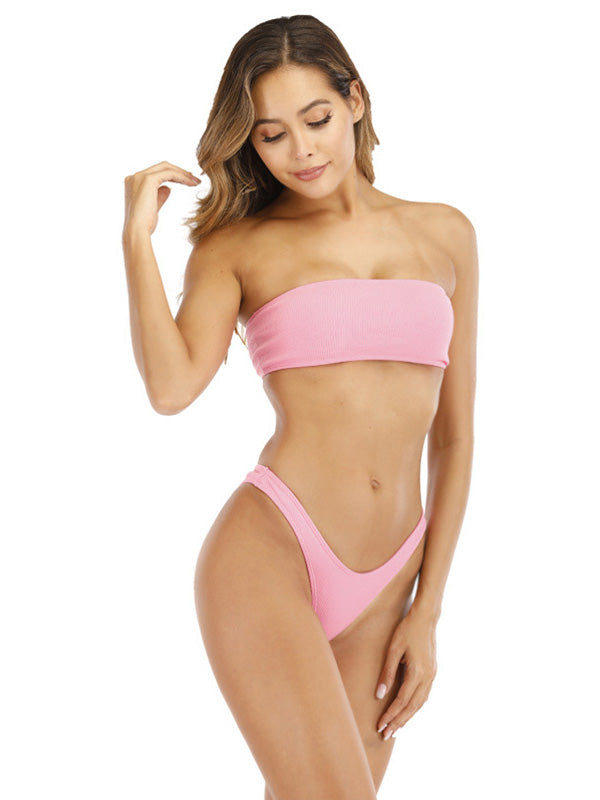 Plain Knot Criss Cross Bandeau With Low Waist High Cut Bikini Set