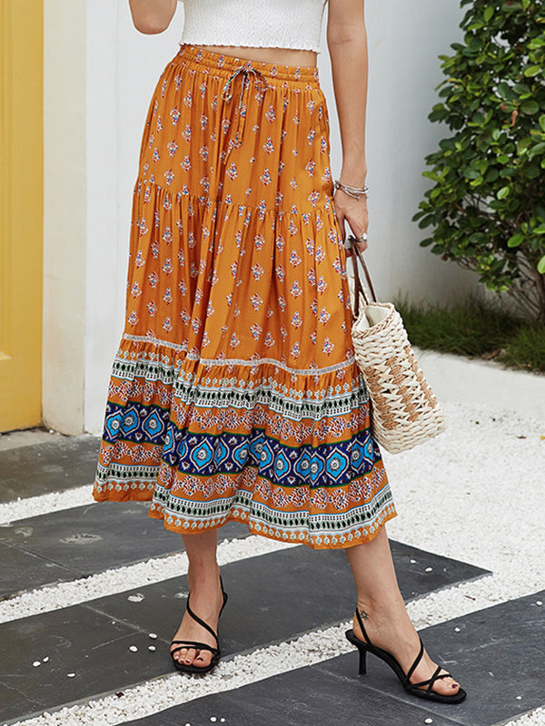 Boho Floral Printed Drawstring Pockets High Waist Midi Skirts