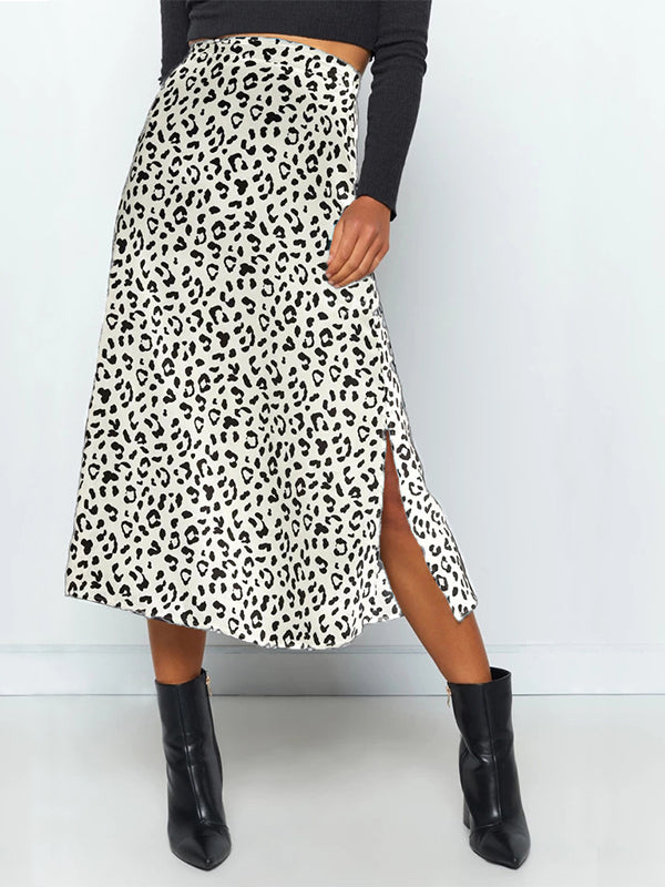Boho Leopard Printed Side zipper Split High Waist Midi Skirts