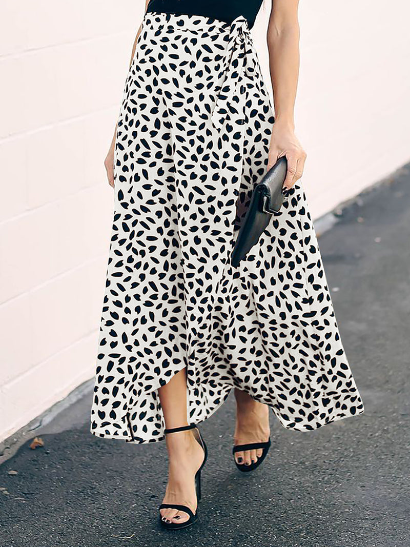 Printed Tie Waist Split High Waist Flowy Maxi Skirt