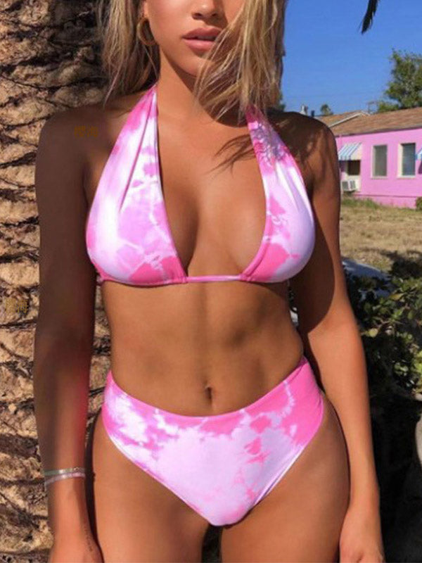 Tie Dye Tie Back Halter Top With High Waist Bikini Set