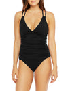Plain Ruched Criss Cross Top With Low Waist Tankini Set