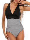 Halter Neck Retro Stripe One Piece Swimsuit