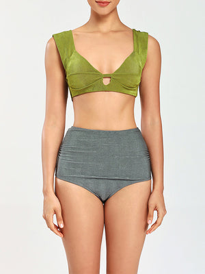 Plain Cut Out Top With Ruched High Waist Bikini Set