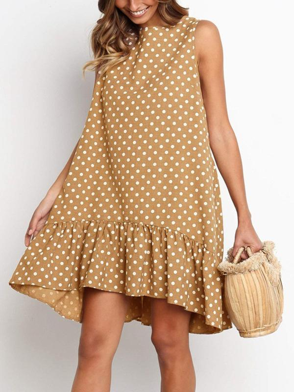 Polka Dots Round Neck Sleeveless Beach Midi Dress