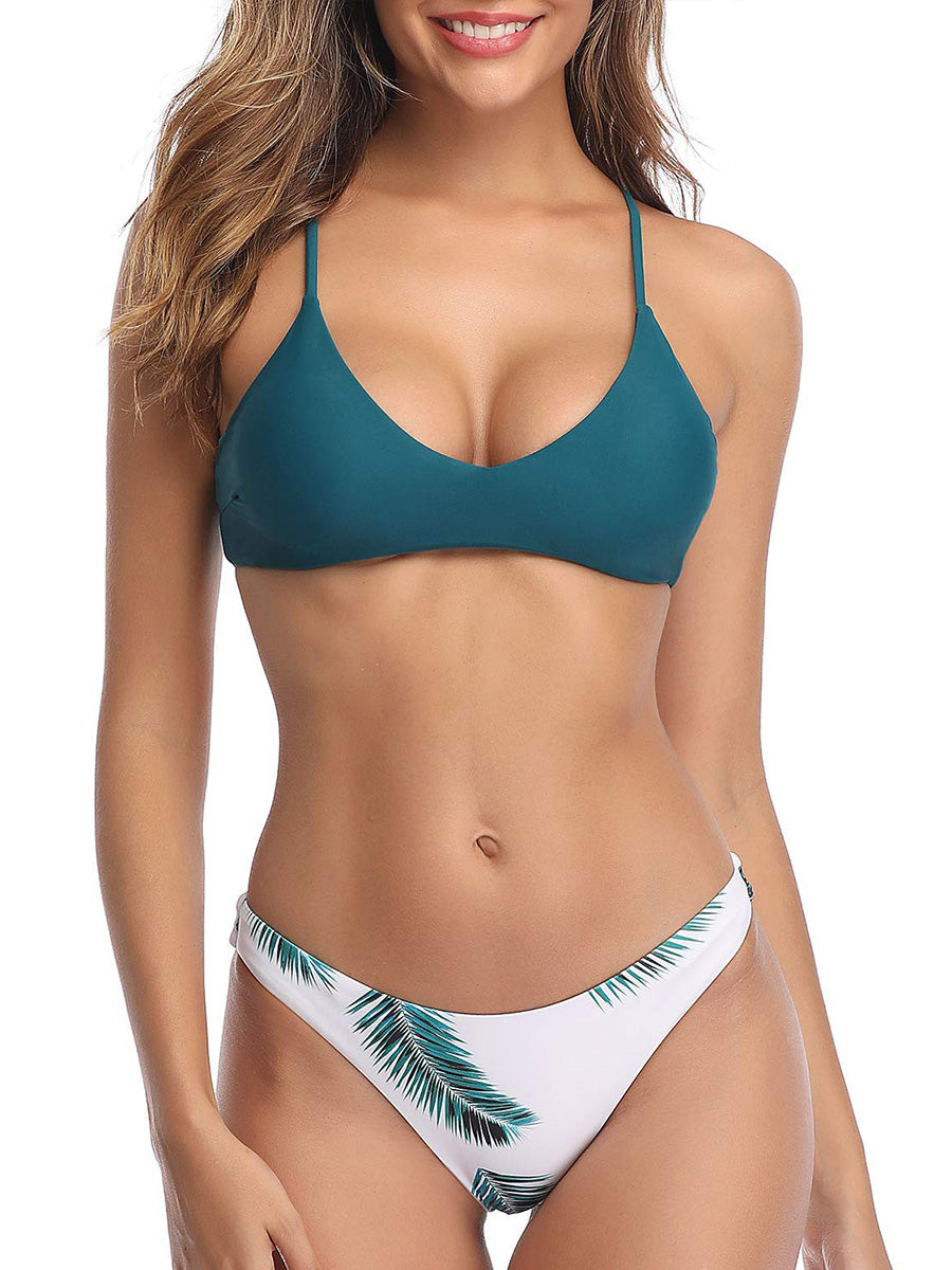 (US Stock & Local Delivery) Scoop Neck Leaf Print Bikini Set