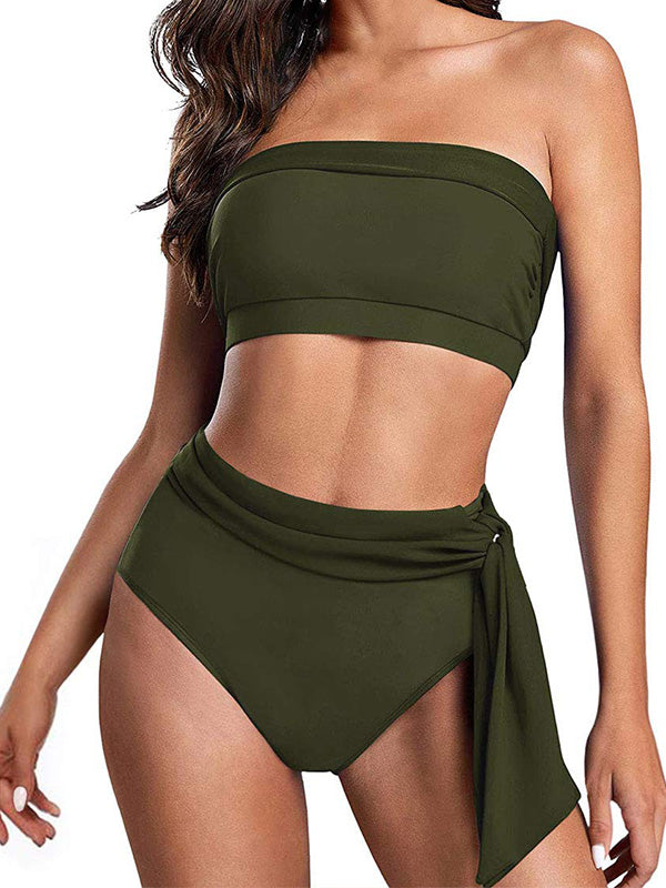 Plain Bandeau With Tie Side High Waist Bikini Set