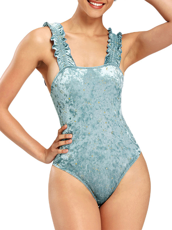 Stars & Moon Ruched High Cut One Piece Swimwear