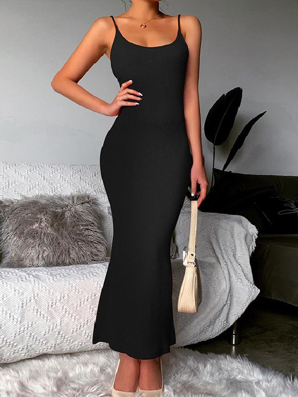 Sexy Slim Solid U Neck Sleeveless Maxi Dress