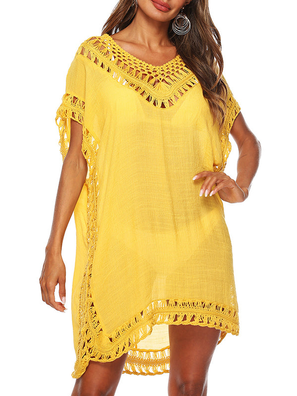 Solid Crochet Trim V Neck Cover Up