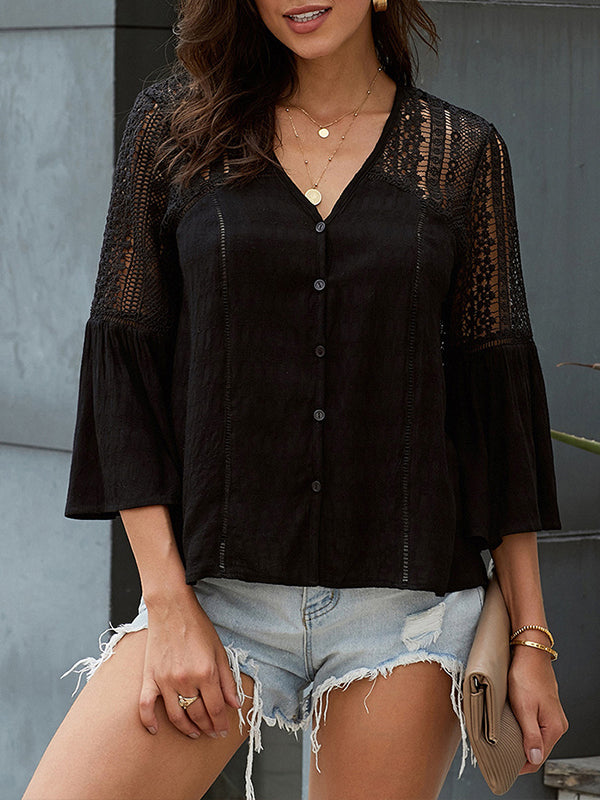 Plain Hollow Out V Neck Flare Sleeve Top