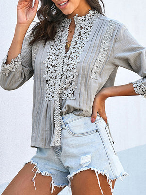 Lace Striped Plain Casual Top