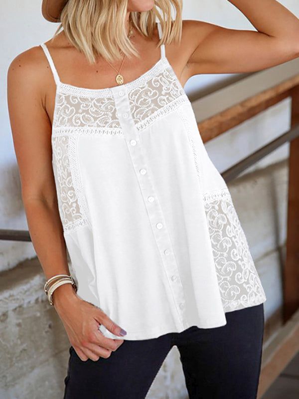 Lace Button Solid Tank Top