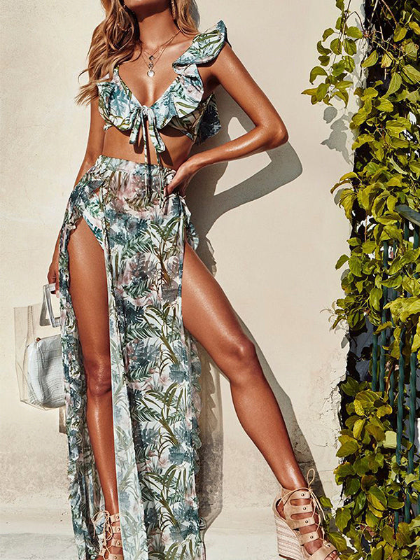 Leaves Print Side Slit Swimdress