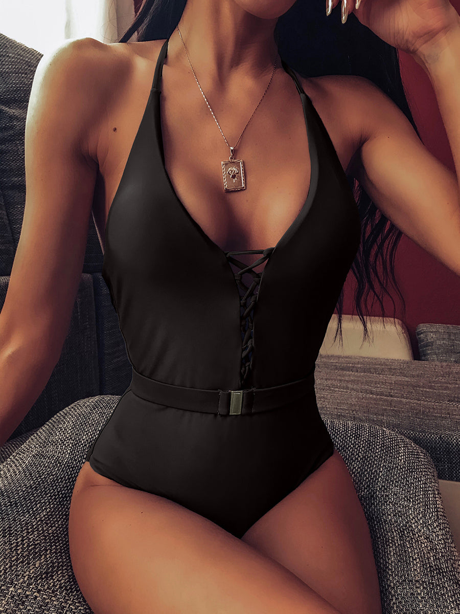 Strappy Criss Cross Belted One Piece Swimwear