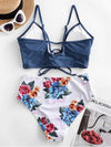Criss Cross Knot Cut Out Top With Floral Print Bikini Set