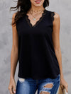 Plain V Neck Lace Sleeveless Top