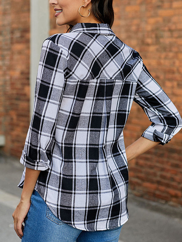 Plaid Print Button Through Blouse