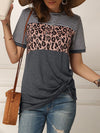 Striped Leopard Patchwork Short Sleeve Tee