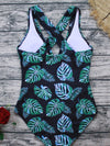 Plants Contrast Mesh Criss Cross One Piece Swimwear