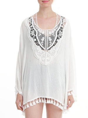 Hollow Out Tassel Hem Cover Up