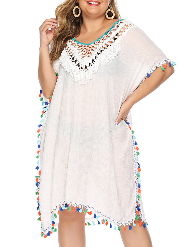 Hollow Out Backless Tasseled Midi Plus Size Cover Up