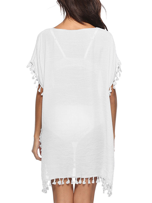 Short Sleeve Tasseled Hem Mini Cover Up