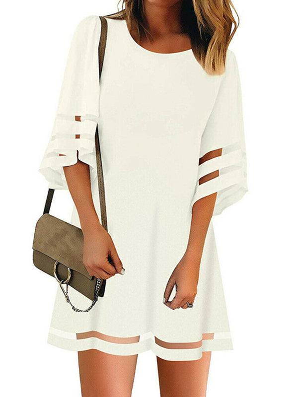 Mesh Loose Trumpet Sleeve A-Line Dress
