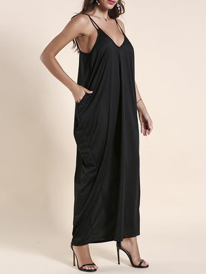 Pocket Backless Ankle Length Dress