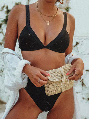 Plain Top With High Waist High Cut Bikini Set