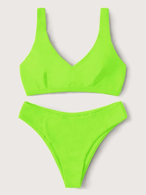 Neon Lace Up Back Top With High Cut Bikini Set