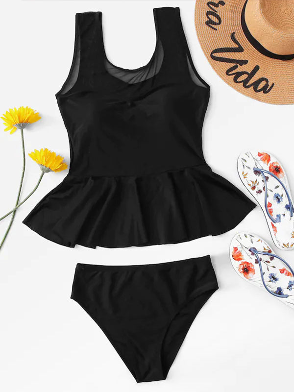 Plain Flounced Top With Low Waist Tankini Set