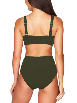 Plain Ruched Criss Cross Top With High Waist Bikini Set