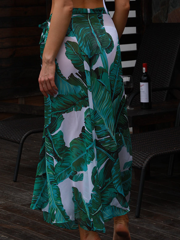 Printed Knot Side Slit Maxi Dress
